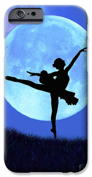 Ballet Digital Art iPhone Cases - Blue Moon Ballerina iPhone Case by Alixandra Mullins