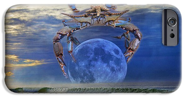 Different Worlds iPhone Cases - Blue Moon Crab iPhone Case by Betsy A  Cutler