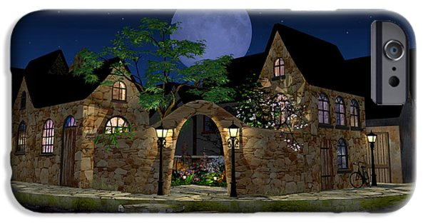 Village iPhone Cases - Blue Moon iPhone Case by Cynthia Decker