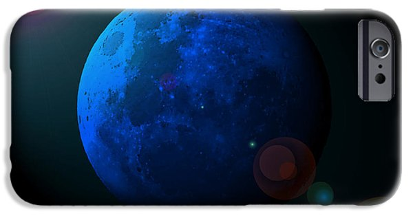Man In The Moon iPhone Cases - Blue Moon Digital Art iPhone Case by Al Powell Photography USA
