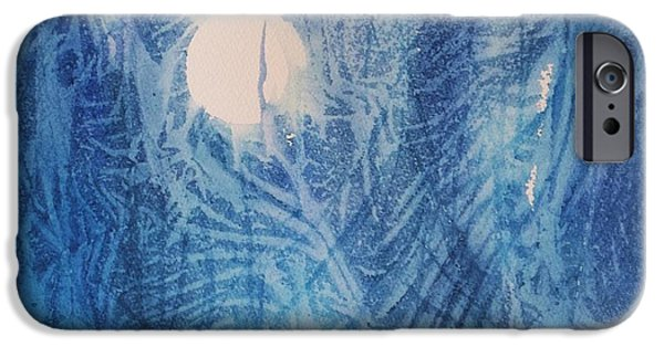 Blue Abstracts iPhone Cases - Blue Moon iPhone Case by Ellen Levinson
