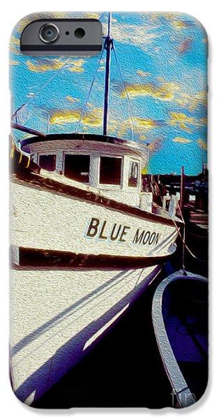 Boat Mixed Media iPhone Cases - Blue Moon  iPhone Case by Jon Neidert