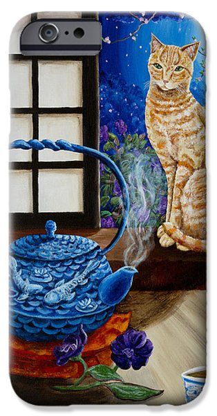 Orange Tabby iPhone Cases - Blue Moon Tea iPhone Case by Laura Iverson