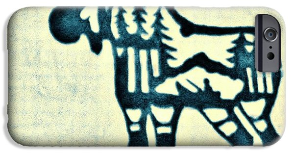 Bull Pyrography iPhone Cases - Blue Moose iPhone Case by Larry Campbell
