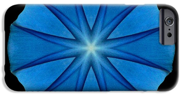 David J Bookbinder iPhone Cases - Blue Morning Glory Flower Mandala iPhone Case by David J Bookbinder