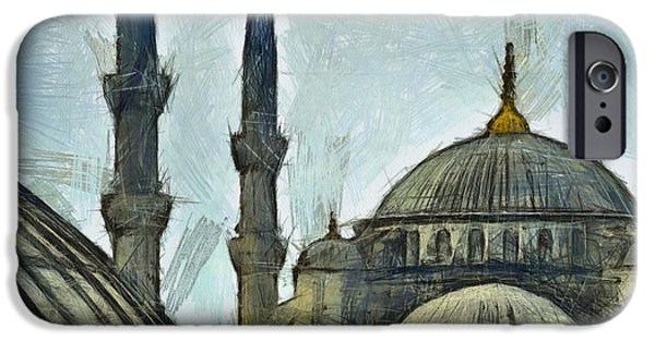 Culture Pastels iPhone Cases - Blue Mosque drawing iPhone Case by Antony McAulay