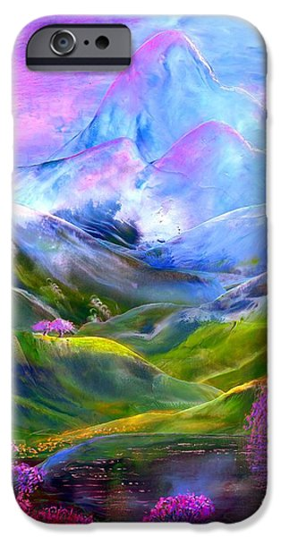 Lavender iPhone Cases - Blue Mountain Pool iPhone Case by Jane Small