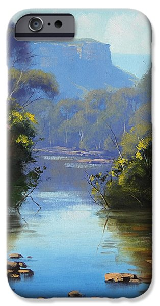 River iPhone Cases - Blue Mountains River iPhone Case by Graham Gercken