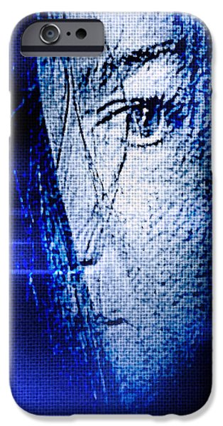Artistic Portraiture iPhone Cases - Blue Mourning iPhone Case by Susan Maxwell Schmidt