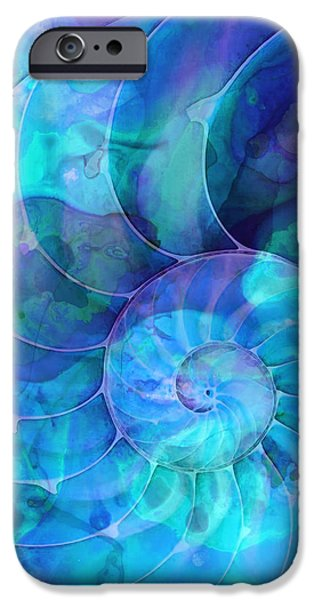 Aqua iPhone Cases - Blue Nautilus Shell By Sharon Cummings iPhone Case by Sharon Cummings