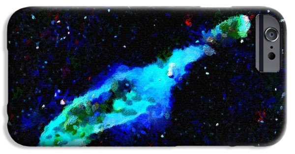 Outer Space Paintings iPhone Cases - Blue nebula in outer space iPhone Case by Magomed Magomedagaev