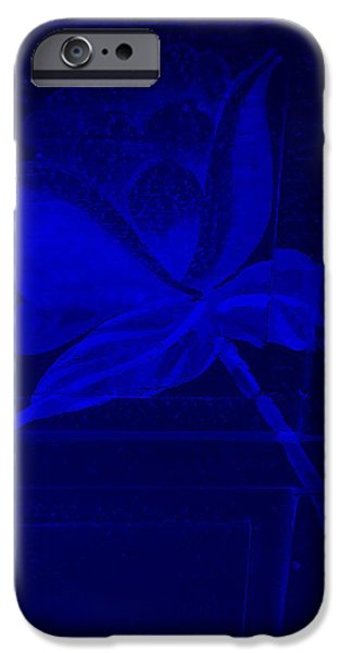 Botanic Illustration Digital Art iPhone Cases - Blue Negative Wood Flower iPhone Case by Rob Hans