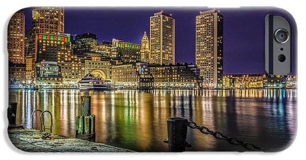City. Boston iPhone Cases - Blue Night over Boston Harbor  iPhone Case by Ludmila Nayvelt