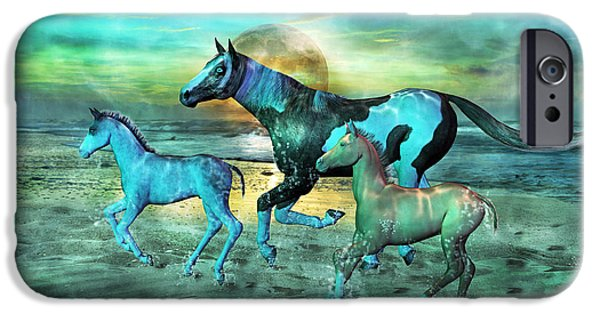 Cutler iPhone Cases - Blue Ocean Horses iPhone Case by Betsy A  Cutler