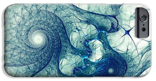 Abstract Forms Mixed Media iPhone Cases - Blue Octopus iPhone Case by Anastasiya Malakhova