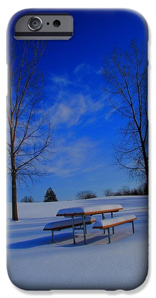 Blue On A Snowy Day iPhone Case by Dan Sproul