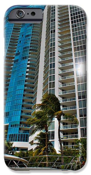 Aqua Condominiums Photographs iPhone Cases - Blue on blue iPhone Case by Claudia Mottram