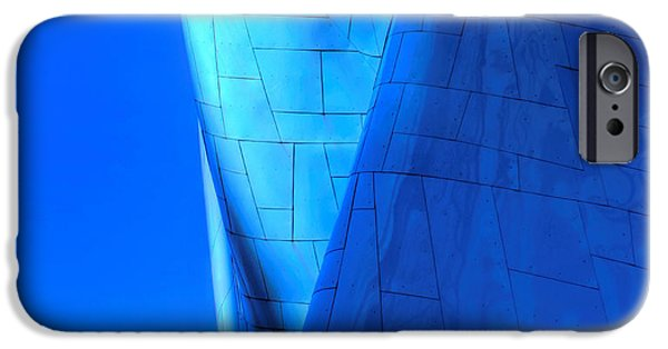 Blue Abstracts iPhone Cases - Blue on Blue cropped version iPhone Case by Chris Anderson