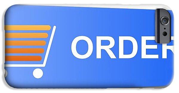 Business Digital iPhone Cases - Blue Order Button iPhone Case by Henrik Lehnerer