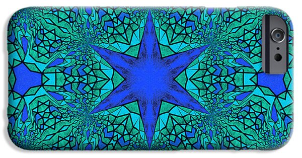 Daughter Gift iPhone Cases - Blue Ornamental Mandala iPhone Case by Georgiana Romanovna