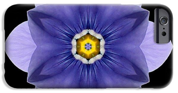 David J Bookbinder iPhone Cases - Blue Pansy I Flower Mandala iPhone Case by David J Bookbinder