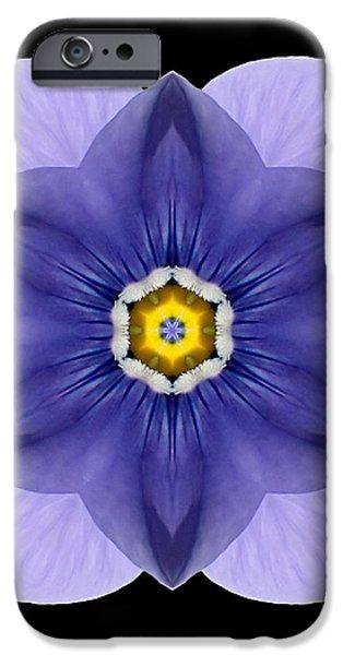 Blue Pansy I Flower Mandala iPhone Case by David J Bookbinder