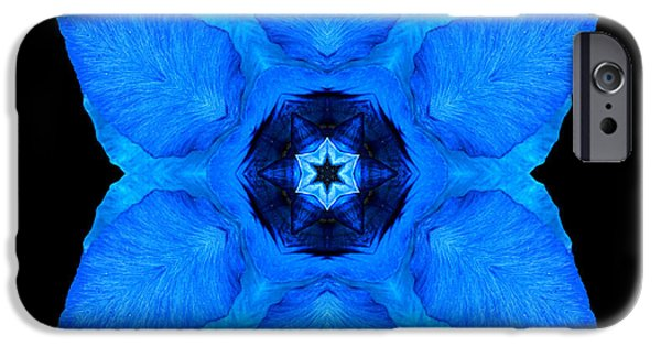David J Bookbinder iPhone Cases - Blue Pansy II Flower Mandala iPhone Case by David J Bookbinder