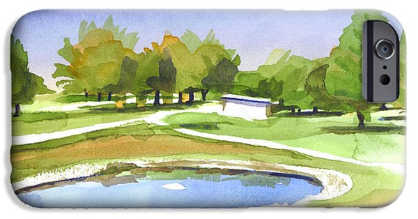 Linked Paintings iPhone Cases - Blue Pond at the A V Country Club iPhone Case by Kip DeVore