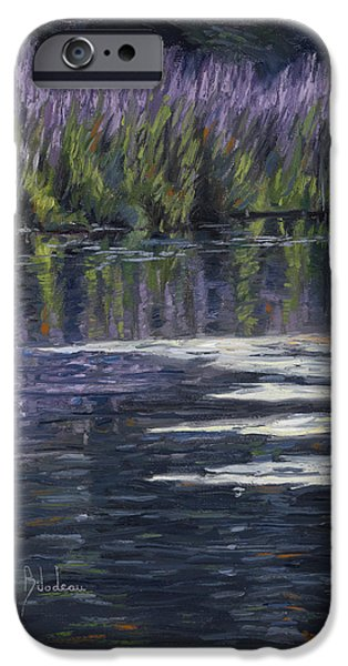 Ponds iPhone Cases - Blue Pond iPhone Case by Lucie Bilodeau