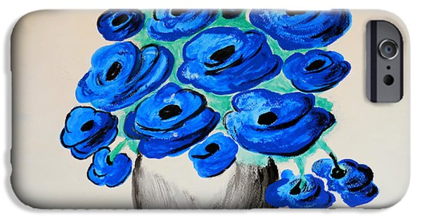 Modern Abstract iPhone Cases - Blue Poppies iPhone Case by Ramona Matei