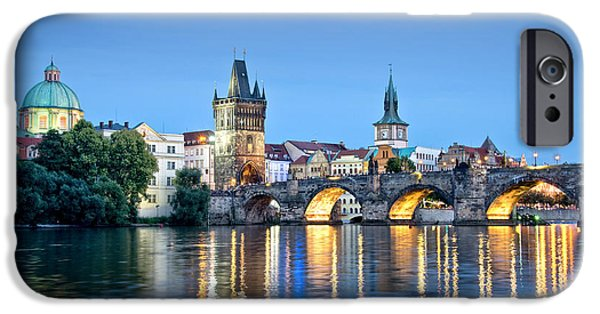 Charles River iPhone Cases - Blue Prague iPhone Case by Delphimages Photo Creations