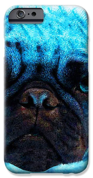 Blue - Pug Pop Art By Sharon Cummings iPhone Case by Sharon Cummings