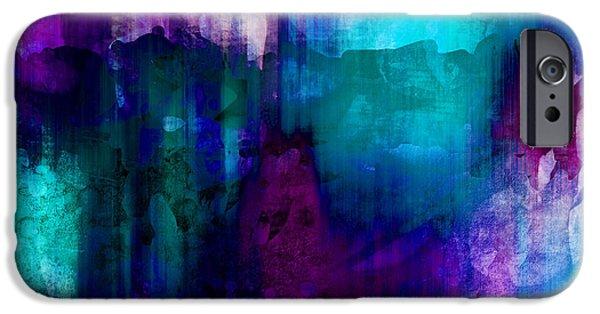 Abstract Digital Digital Art iPhone Cases - Blue Rain  abstract art   iPhone Case by Ann Powell