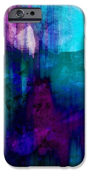 Blue Rain  abstract art   iPhone Case by Ann Powell