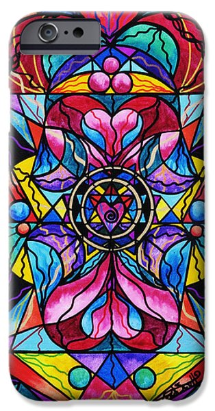 Healing Paintings iPhone Cases - Blue Ray Healing iPhone Case by Teal Eye  Print Store