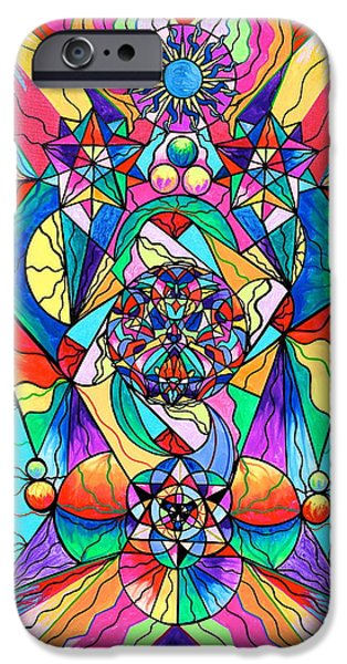 Rays Paintings iPhone Cases - Blue Ray Transcendence Grid iPhone Case by Teal Eye  Print Store