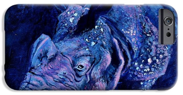 Rhinocerus iPhone Cases - Indian Rhino - Blue iPhone Case by Paula Noblitt