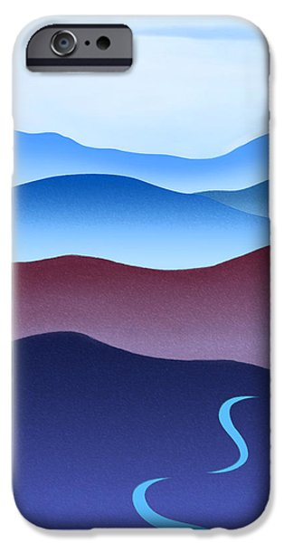 Catherine White Paintings iPhone Cases - Blue Ridge Blue Road iPhone Case by Catherine Twomey