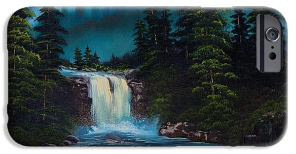 Bob Ross Paintings iPhone Cases - Mountain Falls iPhone Case by C Steele
