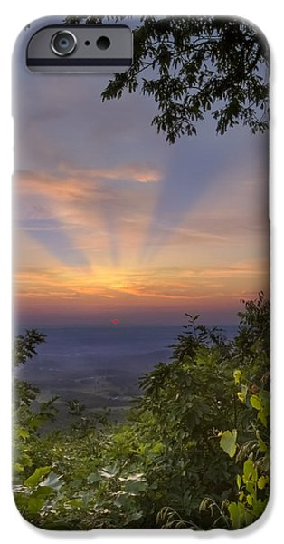 Dave iPhone Cases - Blue Ridge Mountain Sunset iPhone Case by Debra and Dave Vanderlaan