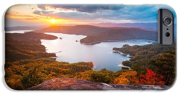 Dave iPhone Cases - Blue Ridge Mountains Sunset - Lake Jocassee Gold iPhone Case by Dave Allen