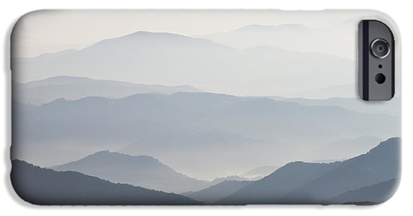 Fog Mist iPhone Cases - Blue Ridge Mountains View from Roan Mountain Balds iPhone Case by Bill Swindaman