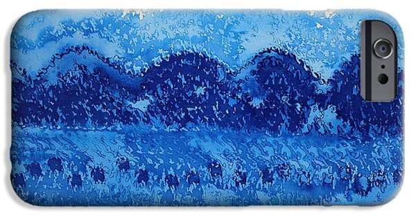 Printmaking iPhone Cases - Blue Ridge original painting iPhone Case by Sol Luckman