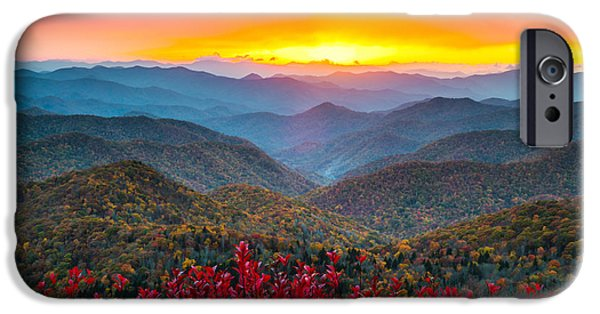 National Parks iPhone Cases - Blue Ridge Parkway Autumn Sunset NC - Rapture iPhone Case by Dave Allen