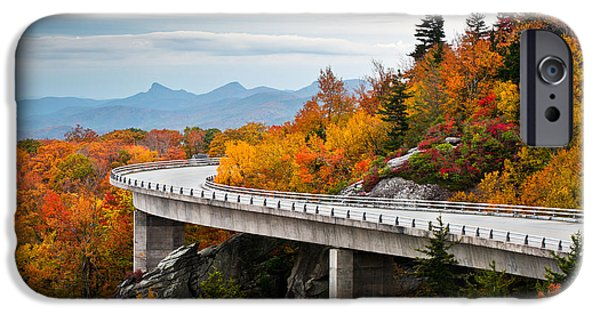 Leaf Change iPhone Cases - Blue Ridge Parkway Fall Foliage Linn Cove Viaduct iPhone Case by Dave Allen