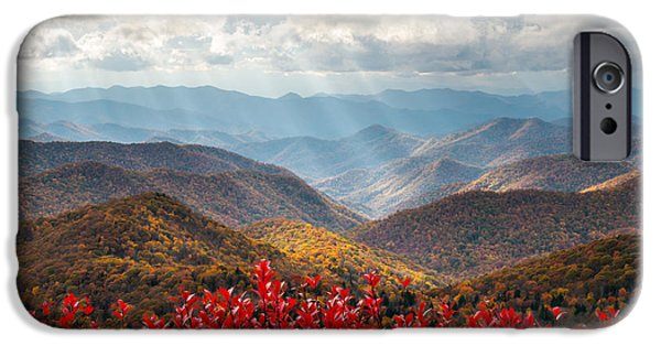 Blue Ridge Parkway iPhone Cases - Blue Ridge Parkway Fall Foliage - The Light iPhone Case by Dave Allen