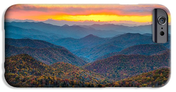 Fall Foliage iPhone Cases - Blue Ridge Parkway Fall Sunset Landscape - Autumn Glory iPhone Case by Dave Allen