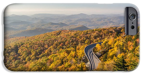 Scenic Drive iPhone Cases - Blue Ridge Parkway in Peak Autumn Colors iPhone Case by Pierre Leclerc Photography
