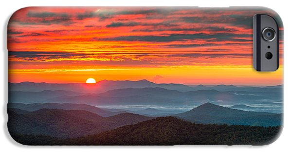 Blue Ridge Parkway iPhone Cases - North Carolina Blue Ridge Parkway NC Autumn Sunrise iPhone Case by Dave Allen