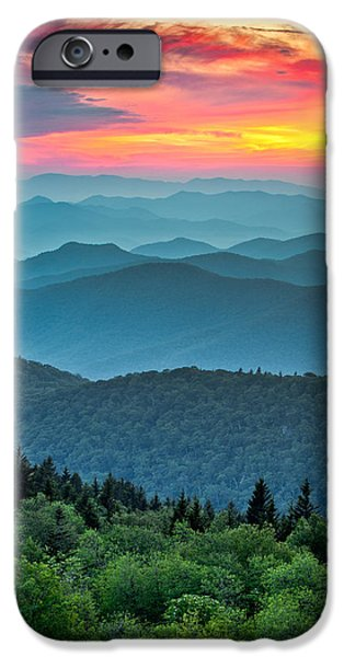 Landscape. Scenic iPhone Cases - Blue Ridge Parkway Sunset - The Great Blue Yonder iPhone Case by Dave Allen
